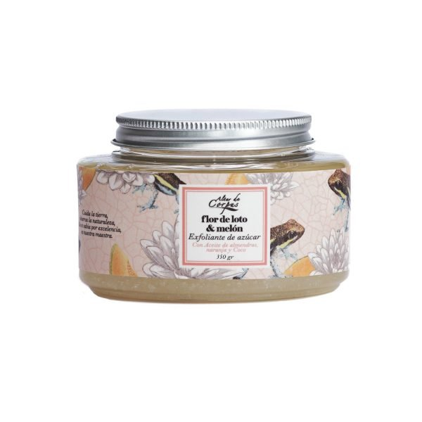 Exfoliante-de-azucar-con-Aceite-de-Almendras-naranja-y-coco-226gr-Flor-de-Loto-y-Melon.-Enriquecido-con-aceite-de-Melocotón-EAFLM226GR