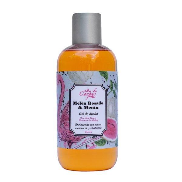 Gel-de-ducha-Melón-rosado-y-menta-260ml-Con-Aloe-vera-y-extracto-de-malva.-Enriquecido-con-aceite-esencial-de-yerbabuena