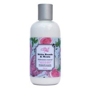Hidratante-corporal-Melón-rosado-y-menta-con-aceite-de-argan-y-manteca-de-karite-260ml.-Enriquecida-con-aceite-esencial-de-yerbabuena