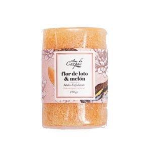 Jabón-Exfoliante-con-estropajo-Natural-130gr-Flor-de-Loto-y-Melon-JE130GRFLM