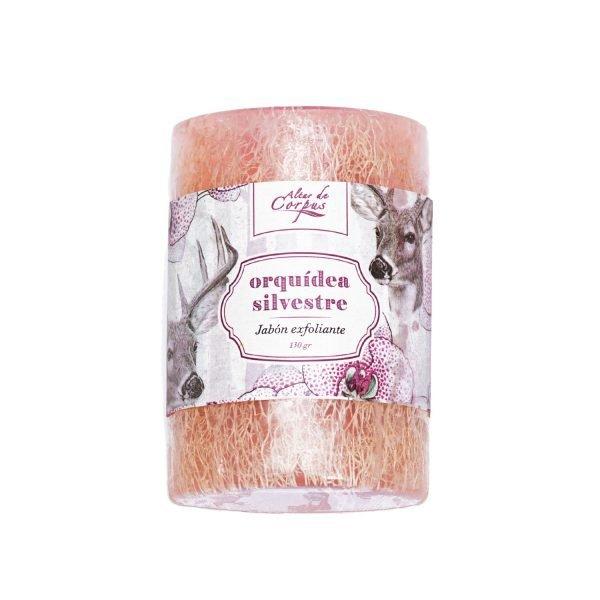 Jabón-Exfoliante-con-estropajo-Natural-130gr-Orquídea-Silvestre