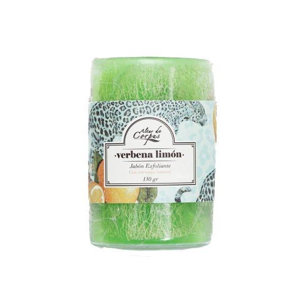 Jabón-Exfoliante-con-estropajo-Natural-130gr-Verbena-Limón