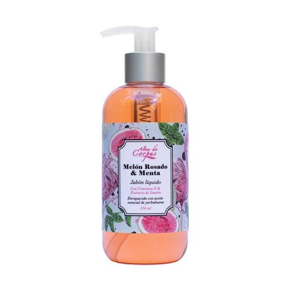 Jabón-líquido-melón-rosado-y-menta-con-vitamina-E-y-extracto-de-llanten-260ml.-Enriquecido-con-aceite-esencial-de-yerbabuena