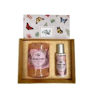 Caja de regalo antibacterial o hidratante corporal y jabón de glicerina con estropajo Natural - Altar de Corpus 2